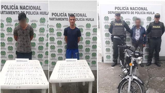 En dos hechos policía captura a dos hombres y aprehende a un menor en Gigante