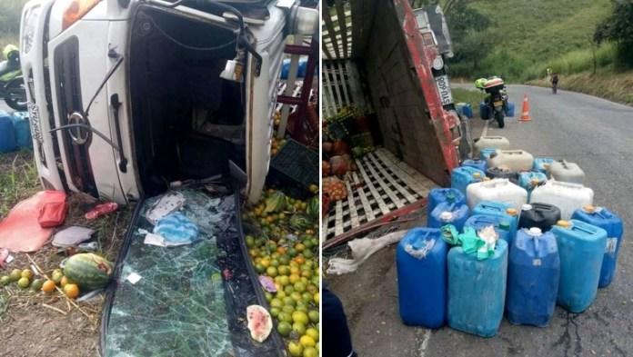 Camión accidentado en Pericongo transportaba insumos para procesar estupefacientes